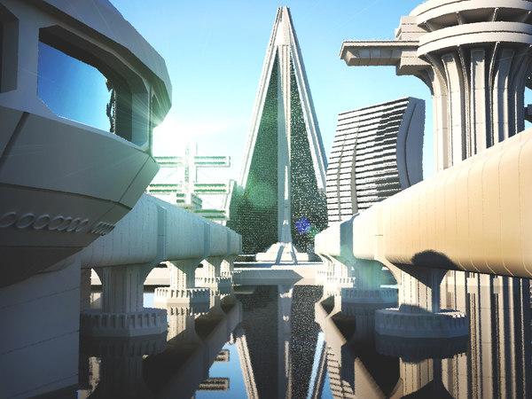 3D brutalist architecture