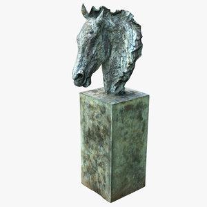 bronze horse head 3D