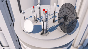 3D satellite dishes antennae