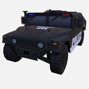 3D car military black police model