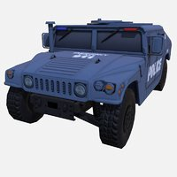 car military blue police 3D model