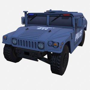 car military blue police 3D model