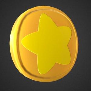 toon coin star 3D model