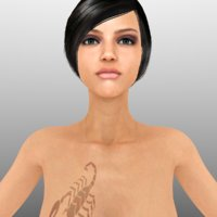 3D realistic nude female woman
