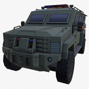 3D car armored green fbi model