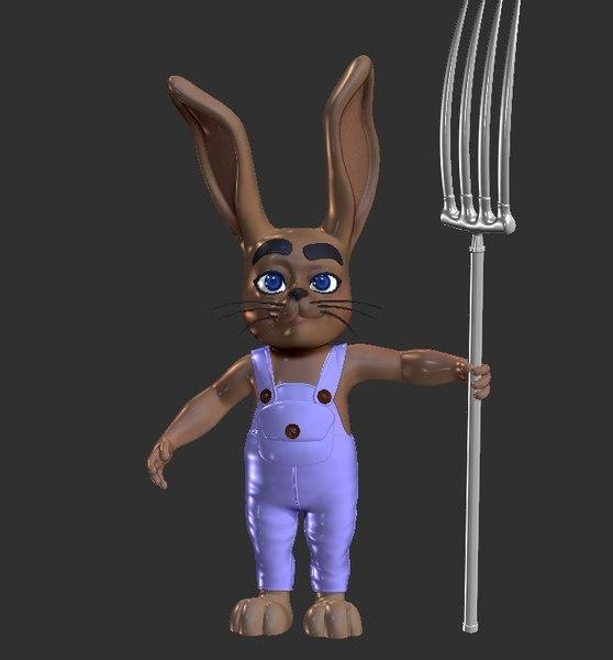 3D farmer rabbit
