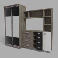 3D sliding wardrobe model