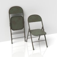 metallic folding chair old 3D model