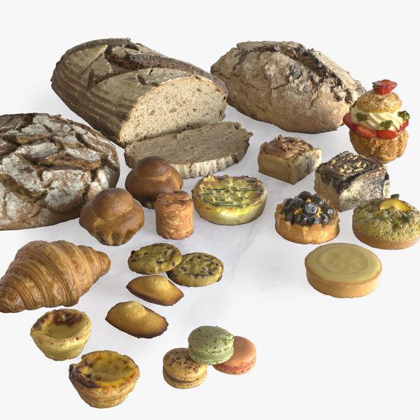 photorealistic pastries bread 3D model