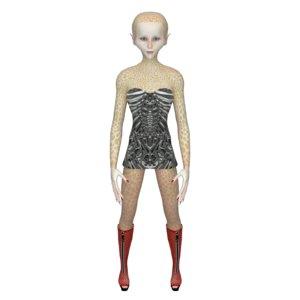 caricature alien girl 3D model