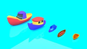 3D cartoon boat set