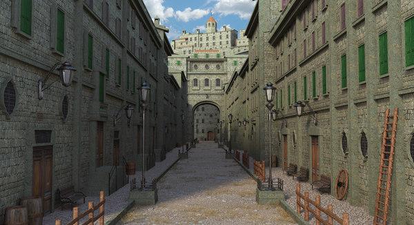 street medieval fantasy 3D