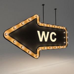 bulb loft signage 3D model