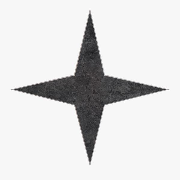 3D juji throwing star model