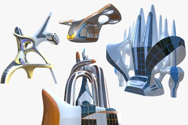 futuristic buildings drone model