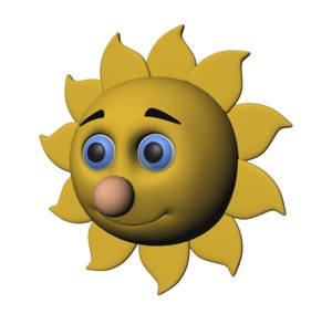 3D cartoon sun