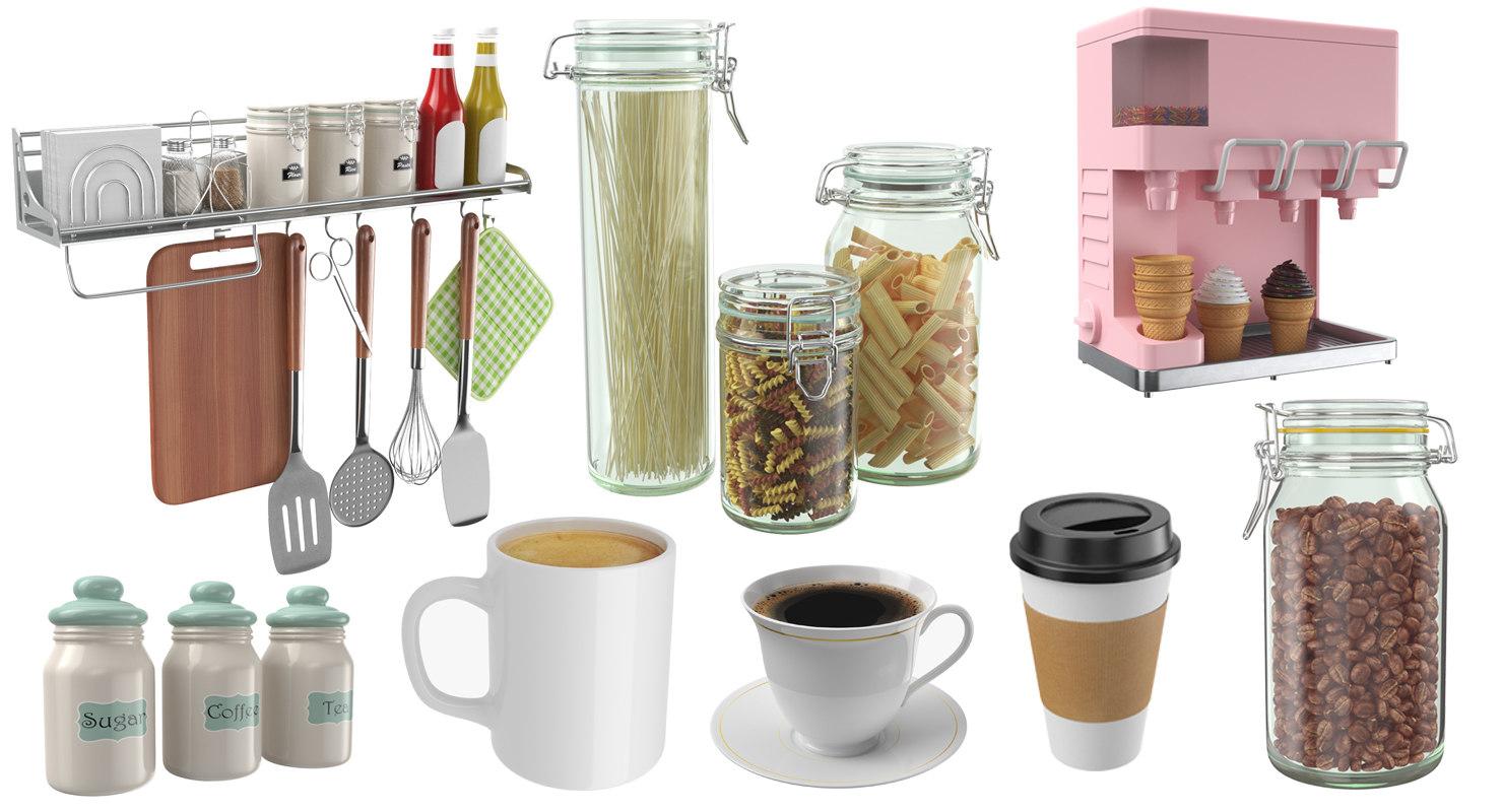 3D real kitchen utensil cookware