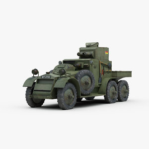 british lanchester mk2 armored car 3D model