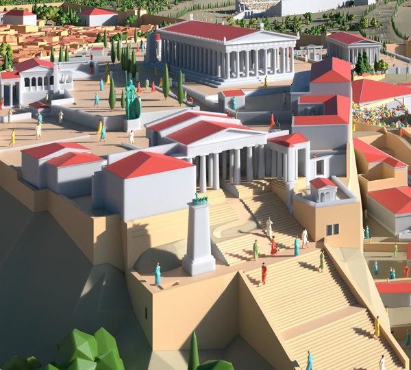 polygonal city athens blender 3D model