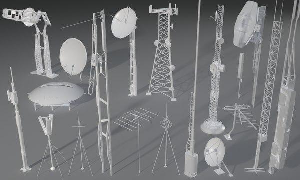 3D 19 pieces antennas model