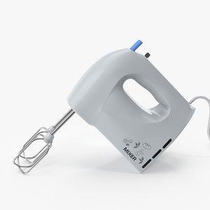 hand mixer white 3D model