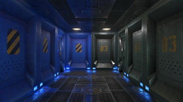 low-poly modular room pbr 3D model