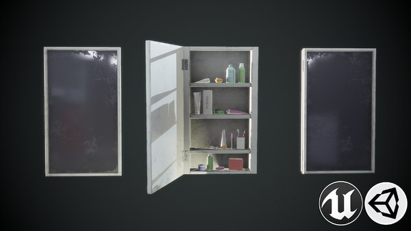 3D model shelf mirror