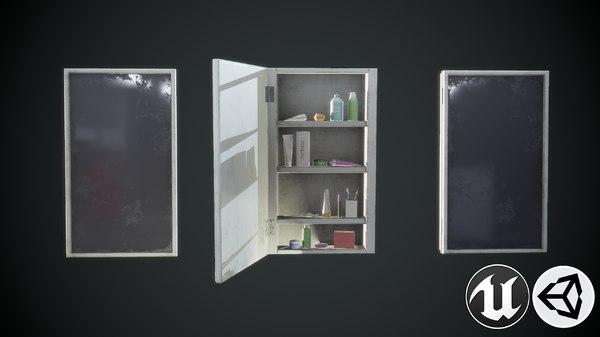 3D model shelf mirror