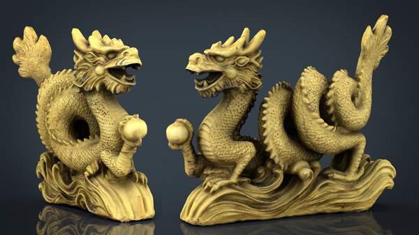 chinese dragon statue 2 model