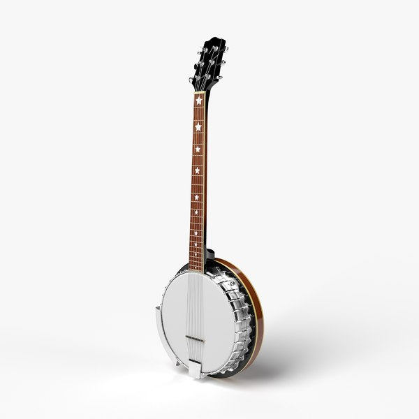 3D banjo instrument music model