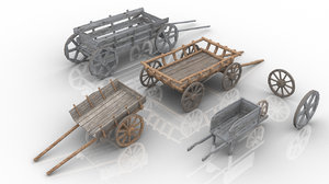 set 4 medieval village model