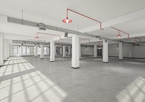 3D model loft office scene