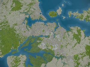 3D city auckland surrounding -