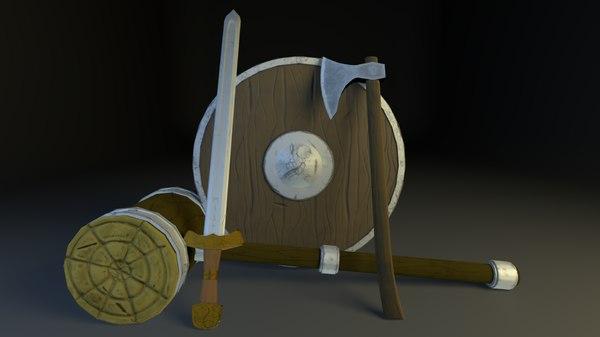 3D low-poly sword