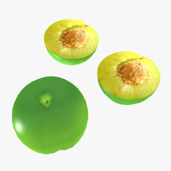 plum fruit 3D model