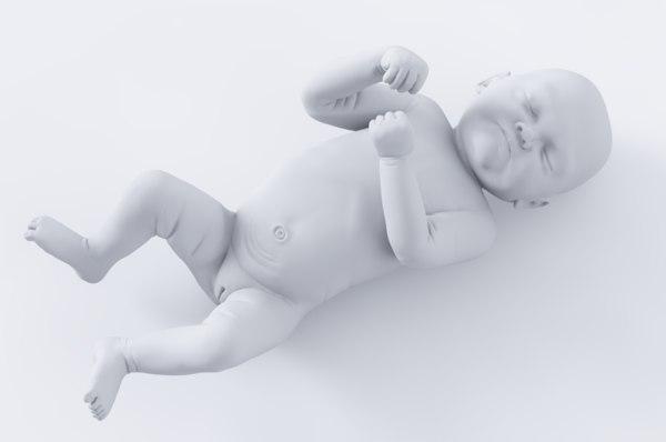 3D realistic newborn baby girl