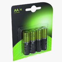 AA 4-Batteries Package 3D Model