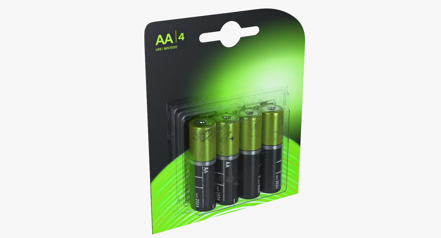 3D model aa 4-batteries package