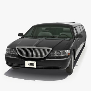 stretch black limousine generic 3D model