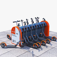 electric kick scooter sharing 3D model