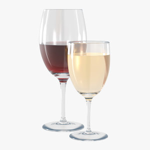 red wine glasses 3D model