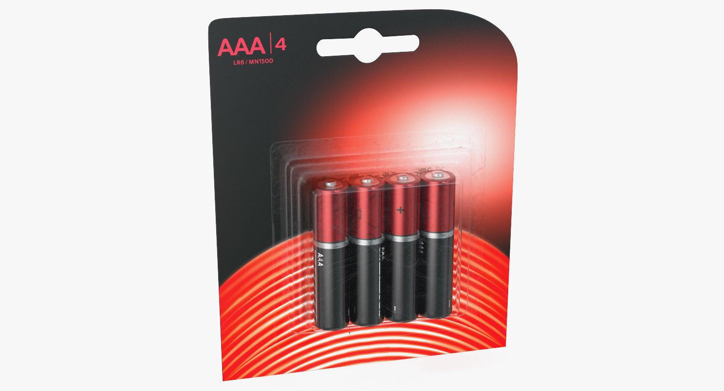 3D model aaa battery package