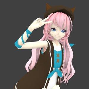 3D cat girl anime model