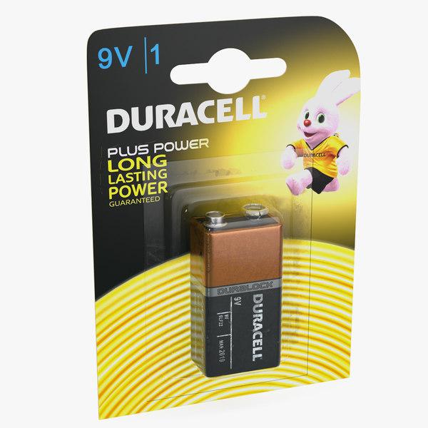 3D 9v duracell battery alkaline