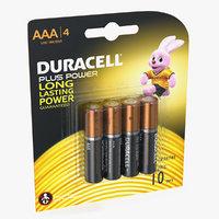 3D aaa duracell alkaline batteries