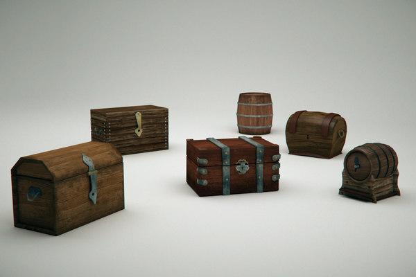 3D model chests trunks barrel