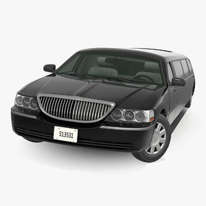 stretch limousine generic black car 3D