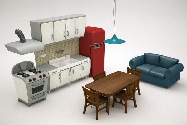 oven cartoon 3D model