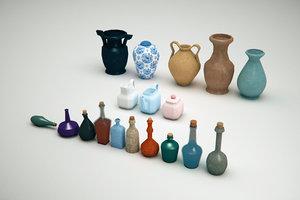3D vases bottles
