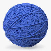 Blue Wool Yarn Ball 3D Model
